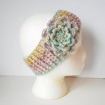 Winter Ear Warmer Headband in Spring Medley with Large Rose, ready to ship.