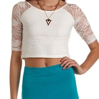 Raglan Sleeve Lace Crop Top: Charlotte Russe