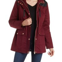 Oxblood Fleece and Faux Fur Lined Anorak Jacket by Charlotte Russe