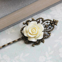 Bridal Hair Pins Ivory Cream Rose Bobby Pins Floral Vintage Style Bridesmaid Gift Romantic Antique Brass Filigree Country Chic Wedding