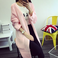Korean fashion all-match long sweater two pocket ladies thickening cardigan