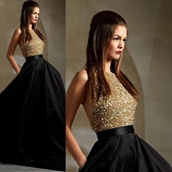Vestido de festa  Sparkly Crystal Sequins Top Prom Dresses 2016 Halter Back Satin Ball Gown Prom Dress with Pockets Custom Made