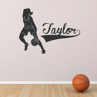 Female Basketball Player Custom Name Wall Decal