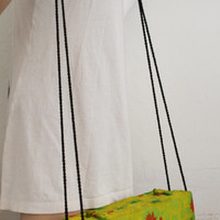Free Ship Asian Silk Box Purse Fringed Green Shoulder Bag