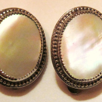 Vintage Whiting and Davis-Clip Ons-Mother of Pearl-Oval Earrings-Signed