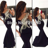 black embroidered prom graduation bridesmaid dress