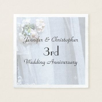 Vintage Lace Paper Napkins 3rd Wedding Anniversary