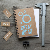 Great ideas spiral notebook, kraft paper note pad, paper notebook, pocket notebook, blank book, writing notepad, notebook journal