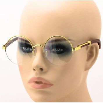 Men Women Vintage Gold Eyeglass Frame Plain Glass Clear Half-Rim Spectacles NEW