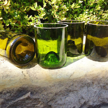 Eco-Friendly Stemless Wine Bottle Glasses Set of 4