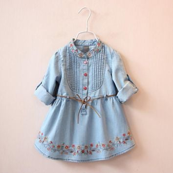 New 2017 girls denim dress 3 to 10 Years Cotton Girls embroidery Dress Toddler Girls long sleeve clothing Teenager Girls Summer