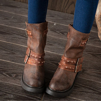 Womens Handmade Retro Leather Combat Boot Buckle boots Round Toe Middle Boots,Fall/Winter Boots,Ladies Leather Boots,Coffee Boots