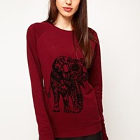 ASOS Sweatshirt with Elephant Flocking at asos.com