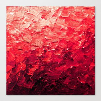 MERMAID SCALES 4 Red Vibrant Ocean Waves Splash Crimson Strawberry Summer Ombre Abstract Painting Canvas Print by EbiEmporium