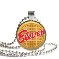 Eleven Eggo Waffle Silver Plated Picture Pendant Necklace Stranger Things 11