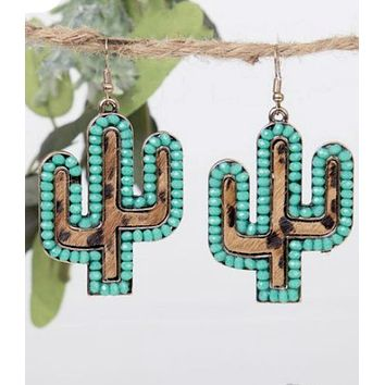 Turquoise Leopard Cactus Earrings