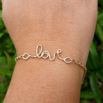 Love Bracelet, Valentines Day, Sweetheart, Anniversary, Gift for Her, Gold, Handmade