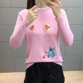 Ugly Christmas Sweater Pull Femme Embroidery Sweater Women 2018 Korean Cute Kawaii Pullover Pink White Jumper Sueter Mujer Knit