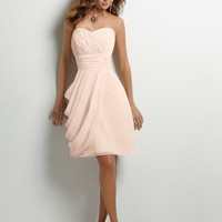 Shirred Chiffon Bodice Short A-line Skir Removable Spaghetti Straps Chiffon Homecoming Dresses Bridesmaid Dress YSP379
