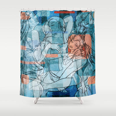 Retro Girls Shower Curtain by Spooky from Society6