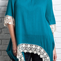 Lace Trim Tunic - Teal - Curvy