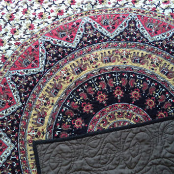 "ON SALE Mandala India elephant tapestry QUILT/ Handmade tapestry quilt/ boho chic bohemian gypsy brown red black twin blanket size 50"" x 76"""