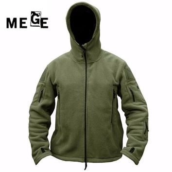 MEGE Men Outdoor Winter Fleece Hooded Jacket,  Thermal Breathable US Army Military Outwears for Men Women Camping Hiking
