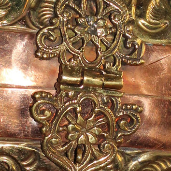 Vintage Brass Purse Ornate With Copper Detail Brass Chain Handle