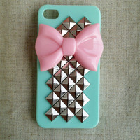 Pink Bow With Pyramid Studded Iphone 4 4s Mint Green Hard Case-A15