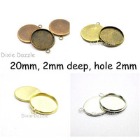 DIY jewelry 10 Round Pendant Tray Blanks,  20mm round charm setting, DIY photo jewelry, gold or silver plated bezel, holds 20mm cabochons