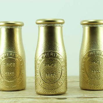 Gold Dairy Bottle Vases Set of 3 - 50th Wedding Anniversary Party Decor - Bachelorette Party Centerpiece - Metallic Gold Graduation Party