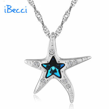 "2015 Trendy 925 Sterling Silver Necklaces Starfish Pendant Necklace 18"" Chain  Birthday Gifts for Her"