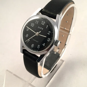 Classic VINTAGE women's watch ZARIA/ ZARJA , Black dial.17jewels movement watch with brand new leather band.