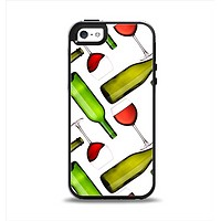 The Red Wine Bottles and Glasses Apple iPhone 5-5s Otterbox Symmetry Case Skin Set