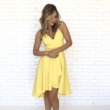 Happy Days Pleated High Low Hem Dress