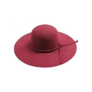 Womens Wide Brim Burgundy Floppy Felt Hat with Matching Tie