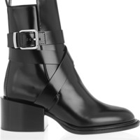 Jil Sander - Buckled glossed-leather ankle boots