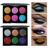 Brand HANDAIYAN Diamond Sequins Glitter Eye Shadow Palette Shiny Eyeshadow Palette 6 Colors Cosmetics To Face Makeup Palette
