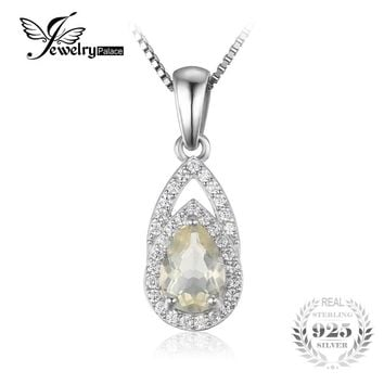 JewelryPalace Elegant 0.9 ct Natural Lemon Quartz Pendant For Woman 925 Sterling Silver Brand Fine Jewelry Not Include A Chain
