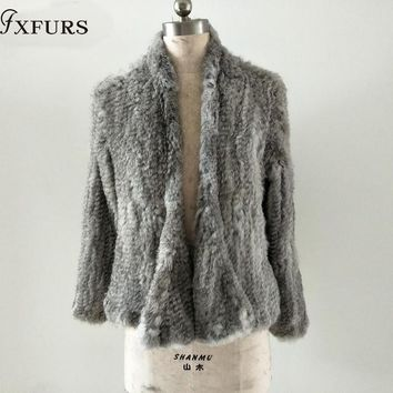 2018 New Style Knitted Rabbit Fur Jacket  Fashion Fur Coats Women Winter Fur Overcoat Free Shipping 8 Colors