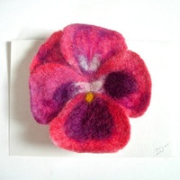 Pansy Needle and Wet Felted Flower Pin by jhammerberg on Etsy