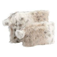 Faux Fur Snow Leopard Beauty Pouches, Set of 2