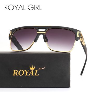 ROYAL GIRL TOP Quality Luxury Men Brand Sunglasses Vintage Oversize Square Sun Glasses Women Clear Glasses