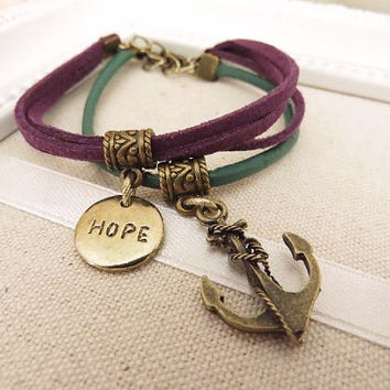 Hope and anchor charm bracelet by trinketsforkeeps on Etsy