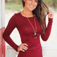 Burgundy Ruched Top