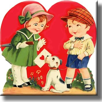 Kids in Love Valentines Picture on Stretched Canvas, Wall Art Decor, Ready to Hang!