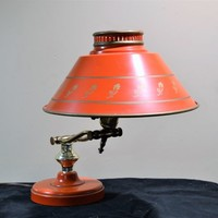 Student Desk Lamp Poppy Red Orange Metal Tole Painted Gold Rose Design Adjustable Arm , Heavy Base  Vintage Mid Century, Country Colonial