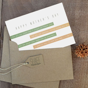 Happy Mother's Day card - Rustic striped card - Modern Mint  Green Peach Card