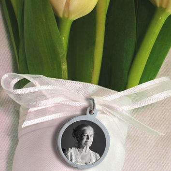 Custom Wedding Bouquet Photo Charm with Engraved Message on Reverse - Sterling Silver, Waterproof - Circle - Medium Size
