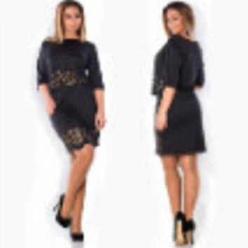 Women Lady Crochet Hollow Plus Size Party Evening Club Dress Two-piece H54 SM6